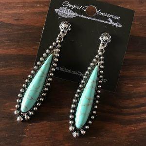 Jewelry - Silver & Turquoise Drop Earrings